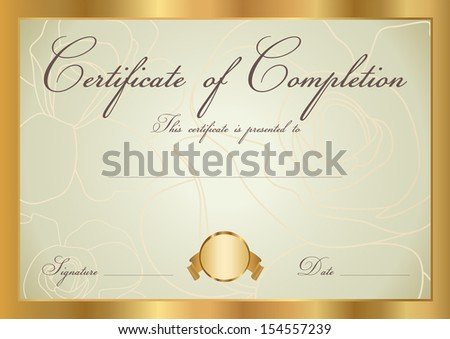 Certificate diploma completion design template background stock certificate diploma of completion design template background floral scroll yadclub Image collections