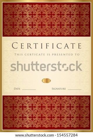 Vertical red certificate completion template golden stock vector certificate diploma of completion design template background floral scroll yadclub Image collections