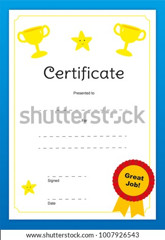 Certificate Kids Children Well Done Congratulations Stock