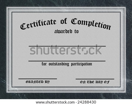 Certificate of Completion - Textured Parchment Frame - customizable - stock photo