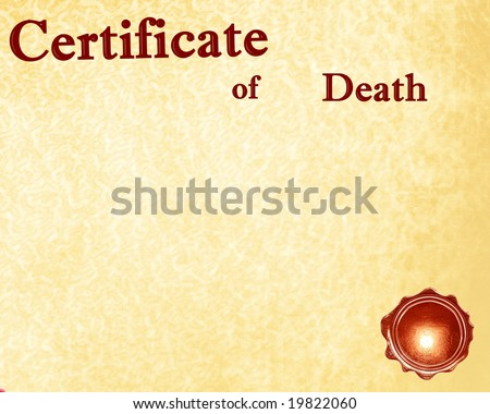 certificate of death with a wax seal on it