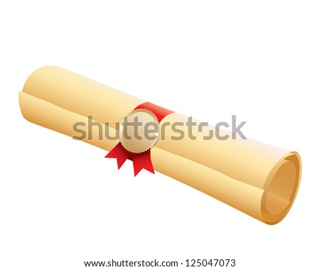 Certificate scroll on white background