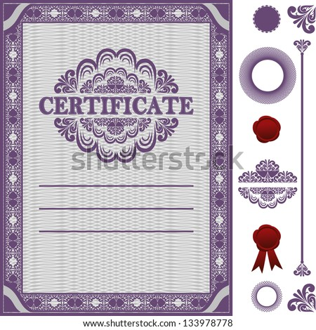 Certificate Template with additional elements. Raster version. - stock photo