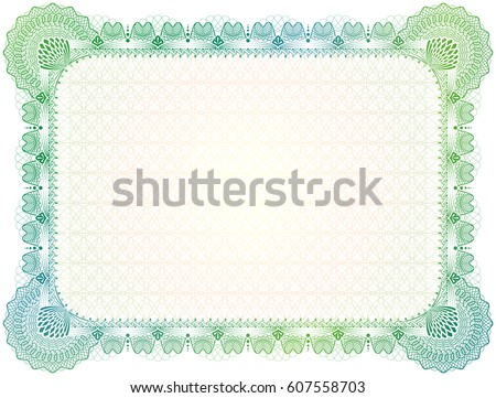 Certificate Template Guilloche Elements Green Diploma Stock - Patent certificate template
