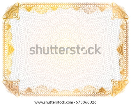 Certificate Template Guilloche Elements Yellow Diploma Stock - Patent certificate template