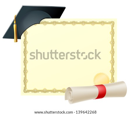 Certificate with copy-space and scroll diploma and mortar board graduation cap - stock photo