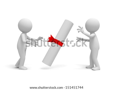 certification/Two 3d people talking around a certificate - stock photo