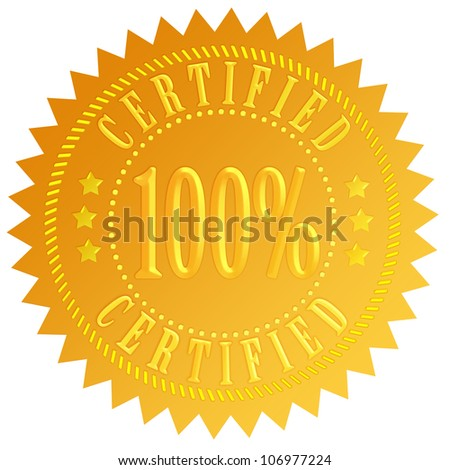 Certified icon - stock photo