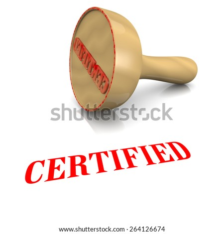 Certified Red Ink Text Wooden Stamp on White Background 3D Illustration - stock photo