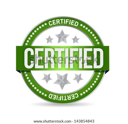 Certified stamp seal illustration design over a white background