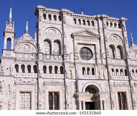 Certosa di Pavia, landmark medieval monastery in Pavia near Milan, Italy - stock photo