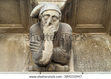 Cervera (Catalunya, Spain): historic palace with grotesque statues
