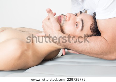 cervical manipulation  - stock photo