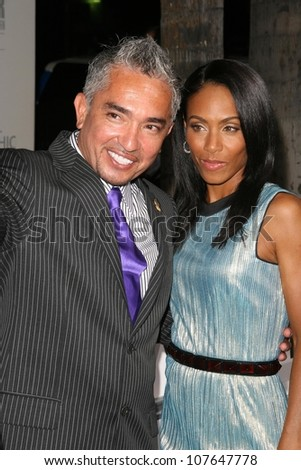 Cesar Millan and Jada Pinkett Smith  at the party to celebrate the 100th Episode of 'Dog Whisperer'. Boulevard 3, Hollywood, CA. 09-17-08 - stock photo