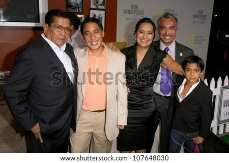 Cesar Millan with Ilusion Millan and family  at the party to celebrate the 100th Episode of 'Dog Whisperer'. Boulevard 3, Hollywood, CA. 09-17-08 - stock photo