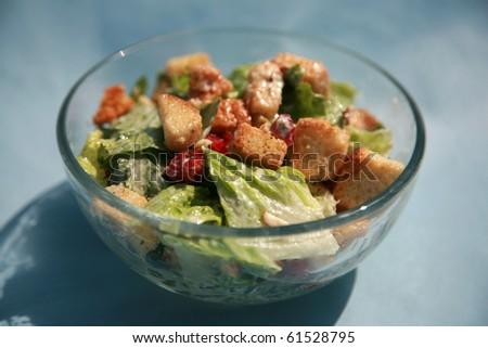 cesar salad on a blue background - stock photo