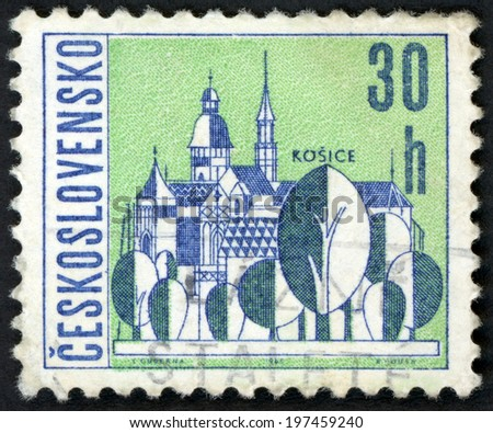 CESKOSLOVENSKO - CIRCA 1965: post stamp printed in Czechoslovakia (Czech) shows st. Elisabeth cathedral of Kosice in Slovakia from views of towns; Scott 1348 A516 30h blue green, circa 1965 - stock photo