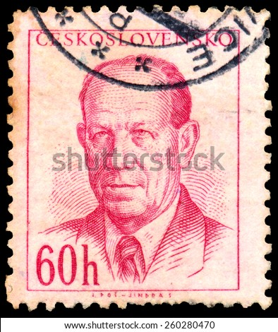 CESKOSLOVENSKO - CIRCA 1953: Stamp printed in Czech shows portrait of Czechoslovakia president Antonin Zapotocky, circa 1953 - stock photo