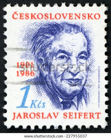 CESKOSLOVENSKO - CIRCA 1991: stamp printed in Czechoslovakia (Czech) shows portrait of Jaroslav Seifert (1901-1986) poet writer, nobel laureate for literature; Scott 2822 A1022 red blue 1k; circa 2000