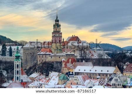 Cesky krumlov at winter, day before christmas. Czech republic. Beautiful aerial view at city and sky. - stock photo