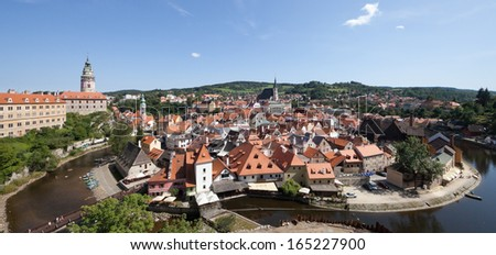 CESKY KRUMLOV - AUGUST 21, 2012: The Castle and City. The castle and city of Cesky Krumlov is saved by UNESCO since 1992.