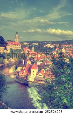 Cesky Krumlov. Beautiful Czech fabulous city - stock photo