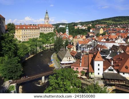 Cesky Krumlov Castle in the Czech Republic. Summer landscape. - stock photo