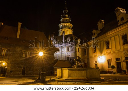 Cesky Krumlov, Czech Republic, Night Scene State Castle and Chateau - stock photo