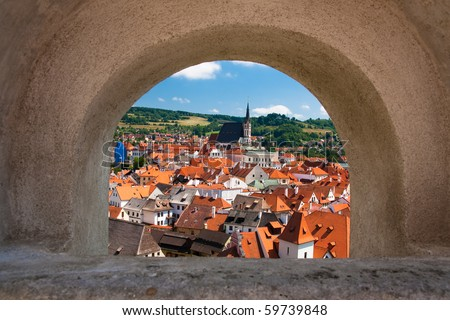 Cesky Krumlov from loop-hole from castle wall