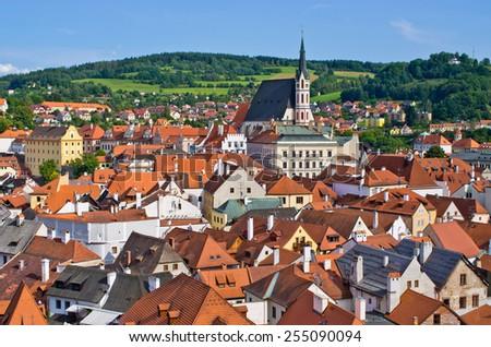 Cesky Krumlov - old town on UNESCO list in Czech Republic - stock photo