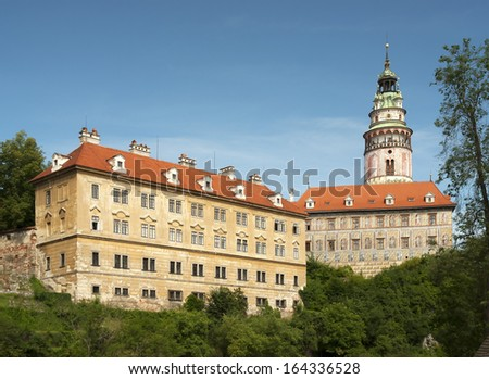 Cesky Krumlov - the castle and tower in summer - stock photo