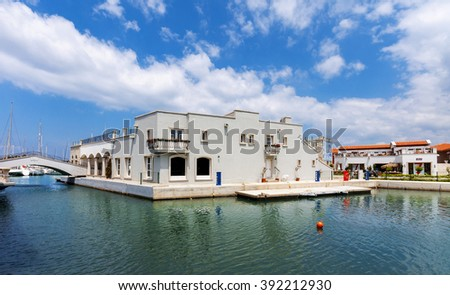 Cesme, Turkey - May 12, 2011 : Cesme yacht marina view. Cesme is populer yacht tourism destination in Turkey.