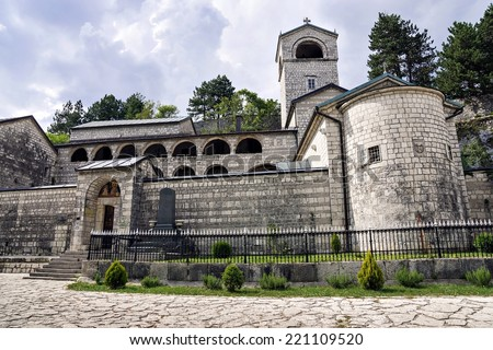 Cetinje Monastery - Orthodox Monastery of the Nativity of the Blessed Virgin Mary in the historic capital of Montenegro - stock photo