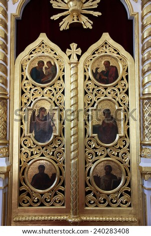 CETINJE, MONTENEGRO - JUNE 09, 2012: The iconostasis in the Orthodox court church built 1450 in Cetinje, the old capital of Montenegro, on June 09, 2012 - stock photo