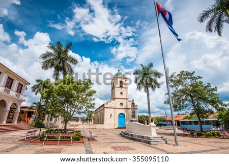 Cetral square in cuban colonia spanish village of Vinales with beautiful sky
