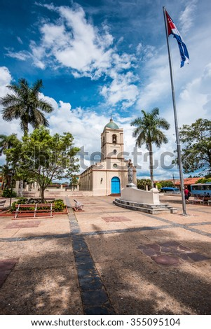 Cetral square in cuban village of Vinales with beautiful sky - stock photo
