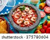 Ceviche de Camaron shrimp in molcajete from Mexico - stock photo