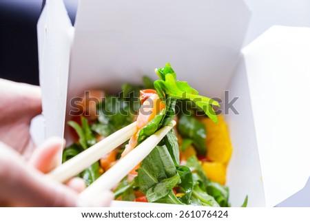 Ceviche in takeaway box - stock photo