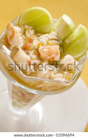 ceviche with lobster chunks central american style lime slices as photographed in corn island nicaragua - stock photo