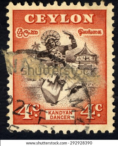 CEYLON - CIRCA 1950: A stamp printed in the Ceylon shows Kandyan dance, circa 1950 - stock photo