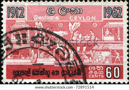 CEYLON - CIRCA 1962: A stmp printed in Ceylon shows genre scenes of everyday life, circa 1962