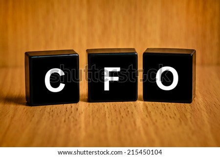 CFO or Chief financial officer text on black block - stock photo