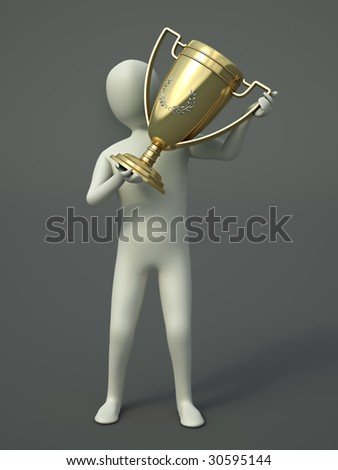 CG character holding a trophy cup - stock photo
