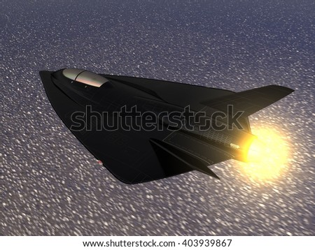CG illustration of a futuristic fictional black delta wing stealth fighter aircraft flying in afterburning mode at high speed over the sea. 3D illustration