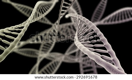 CGI visualization of the many DNA helix (electronic microscope simulation) with focus effect (dark version) - stock photo
