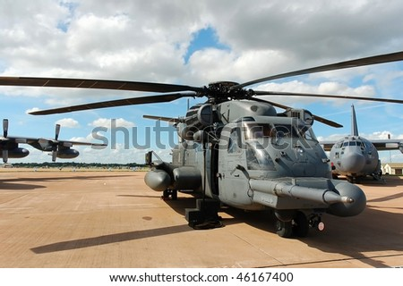 CH-53 helicopter in static display at Fairford (UK) Airshow, July 2007 - stock photo