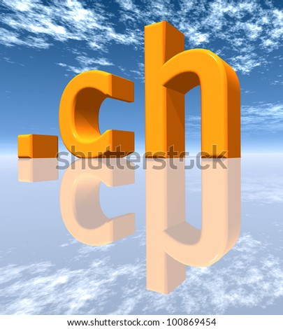 CH Top Level Domain of Switzerland Computer generated 3D illustration
