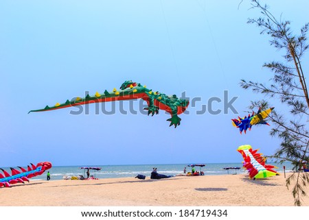 CHA- AM  BEACH - MARCH 9: 15th Thailand International Kite Festival on March 9, 2014 in Cha- Am beach, Phetchaburi  province  Thailand. - stock photo