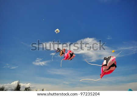 CHA-AM - MARCH 9: Colorful kites in  the 12th Thailand International Kite Festival on March 9, 2012 in Naresuan Camp, Cha-am, Thailand.