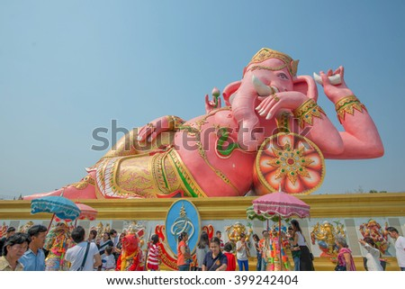 Chachoengsao Province, Thailand -February 7, 2015: Tourist people at Thai Temple with Ganesh statue